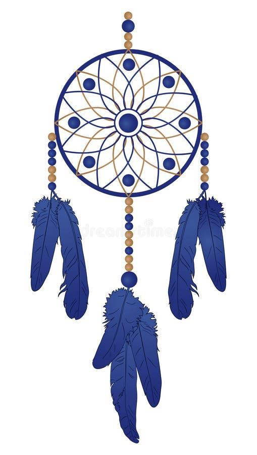 Droomvanger met blauwe veren royalty-vrije illustratie