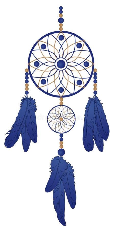 Droomvanger met blauwe veren stock illustratie