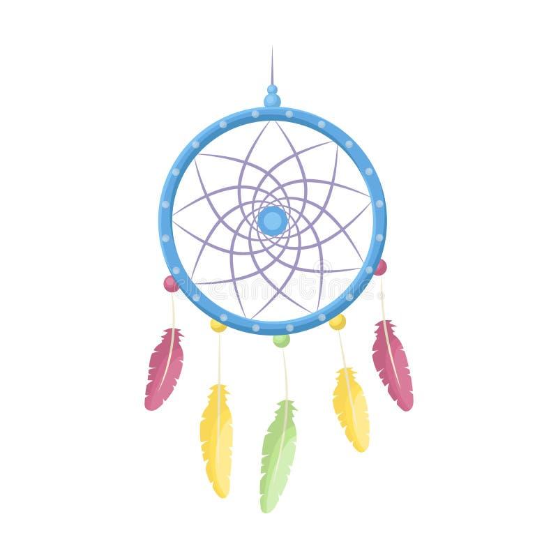 Droomvanger met veren Hippy enig pictogram in beeldverhaalstijl rater, bitmap de illustratieweb van de symboolvoorraad royalty-vrije illustratie