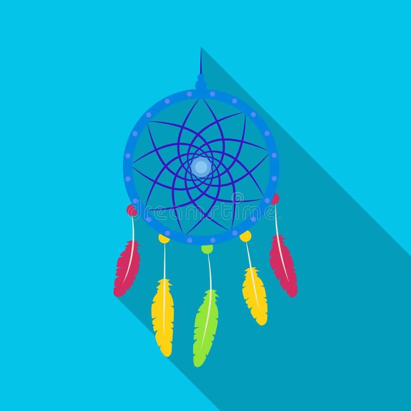 Droomvanger met veren Hippy enig pictogram in het vlakke Web van de de voorraadillustratie van het stijl vectorsymbool royalty-vrije illustratie