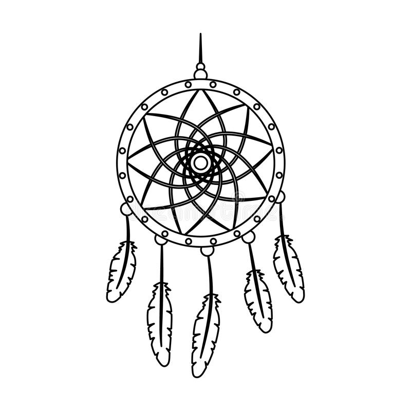Droomvanger met veren Hippy enig pictogram in van de het symboolvoorraad van de overzichtsstijl vector de illustratieweb royalty-vrije illustratie