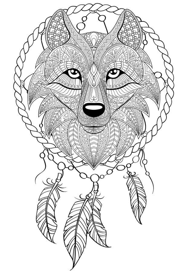 Droomvanger met wolf Tatoegering of volwassen antistress kleurende pagina Zwart-witte hand getrokken krabbel voor het kleuren van stock illustratie