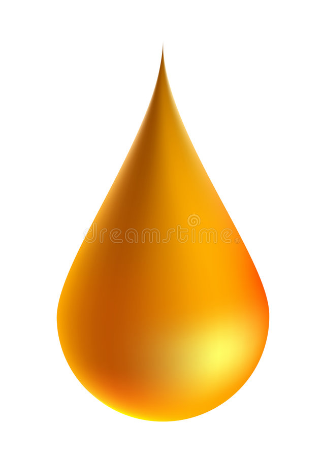 Drop. Illustration of golden oil drop isolated on white