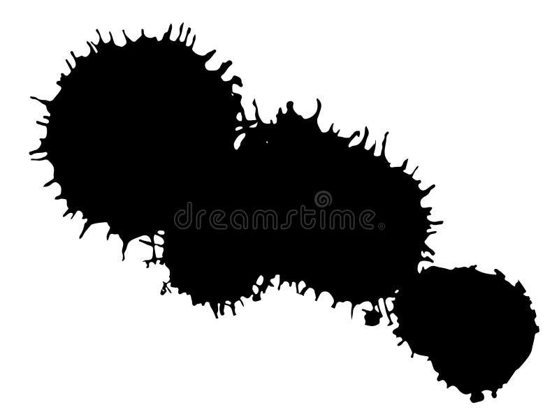 Black ink blot. Drop black ink blot isolated on white background royalty free illustration