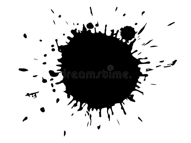 Black ink blot. Drop black ink blot isolated on white background stock illustration