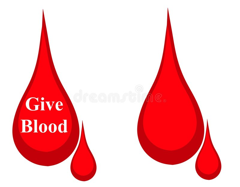 Drop of Blood Donation Logo. A clip art illustration featuring a simple illustration of a drop of blood - one with the words 'Give Blood' and the other blank for vector illustration