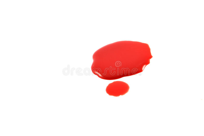 Drop of blood. Isolated on white background close up royalty free stock images