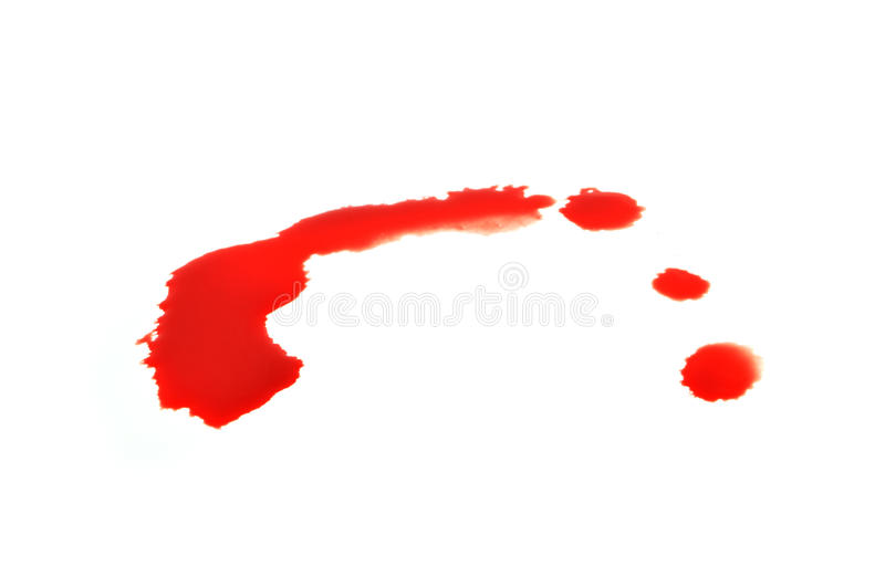 Drop of blood. Isolated on white background close up stock images