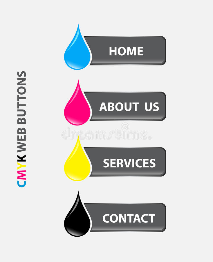 Drop Cmyk Web Buttons Royalty Free Stock Photography