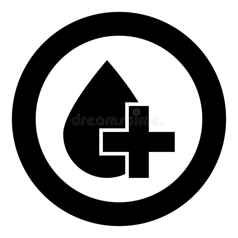 Drop and cross icon black color in circle round royalty free illustration