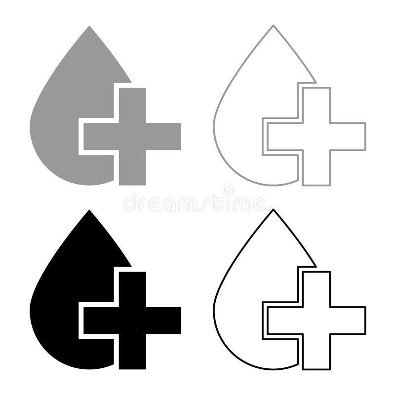 Drop and cross icon set grey black color vector illustration