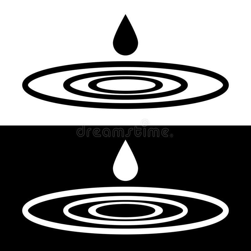 Drop falls forming a circles on water sign. Logo. Drops falls forming a circles on the water. Droplets symbols isolated on the white and black backgrounds royalty free illustration