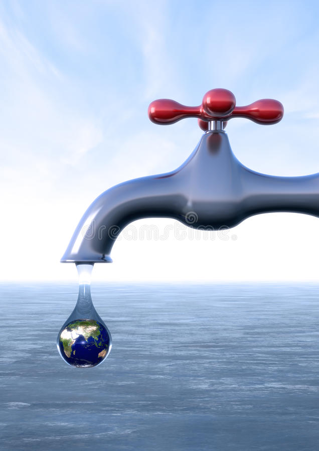 Drop with earth inside. 3d computer generated image of a faucet leaking a drop with an earth inside(drought concept vector illustration