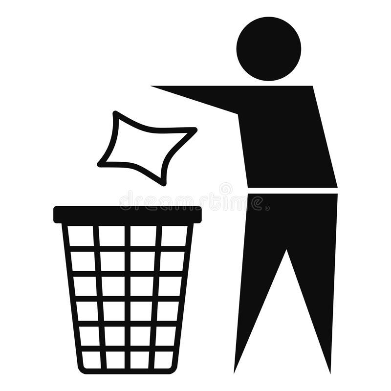 Drop garbage bin icon, simple style vector illustration
