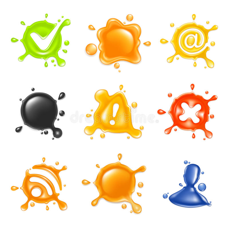 Drop, icon set. Isolated on the white vector illustration