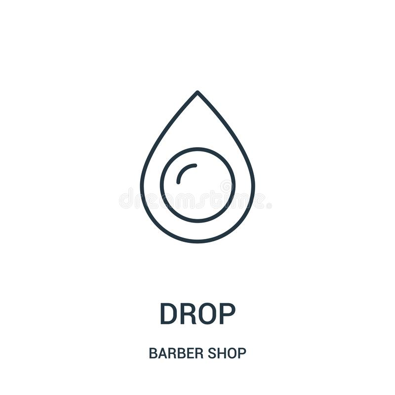 drop icon vector from barber shop collection. Thin line drop outline icon vector illustration royalty free illustration