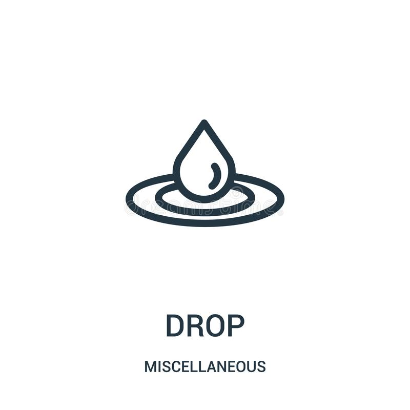drop icon vector from miscellaneous collection. Thin line drop outline icon vector illustration. Linear symbol for use on web and royalty free illustration