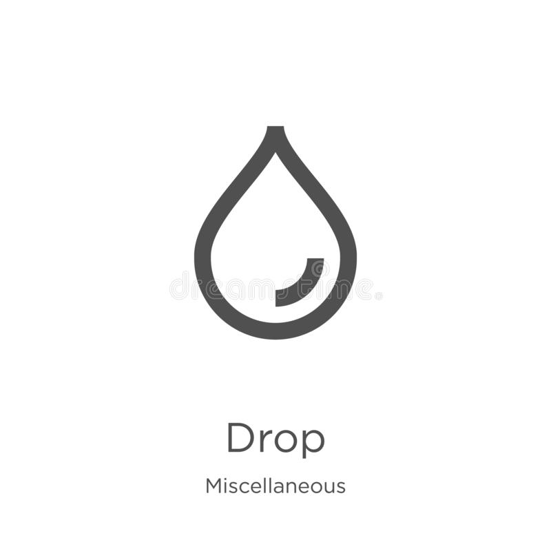 drop icon vector from miscellaneous collection. Thin line drop outline icon vector illustration. Outline, thin line drop icon for vector illustration