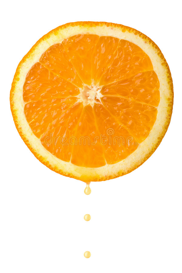 Drop of juice falling from orange half isolated stock image