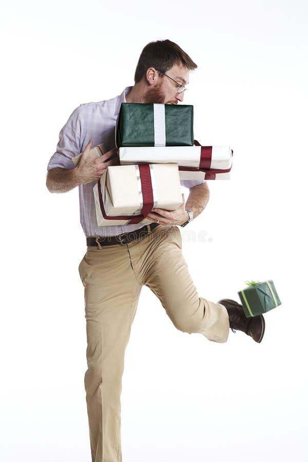 Drop kicking present stock photos