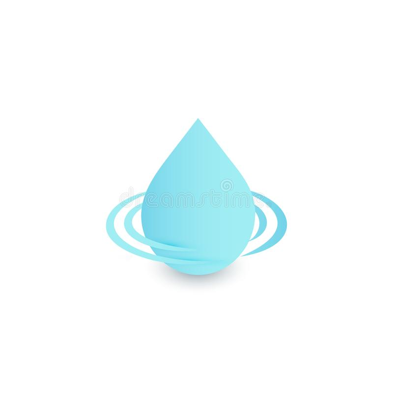 Drop logo, clean water sign, blue droplet vector icon, aqua design symbol on white background. Fresh drink logotype. Template stock illustration