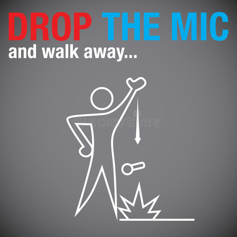 Drop the Microphone. An image of a person dropping the microphone vector illustration