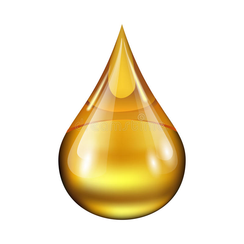 Drop of oil. Isolated on white background