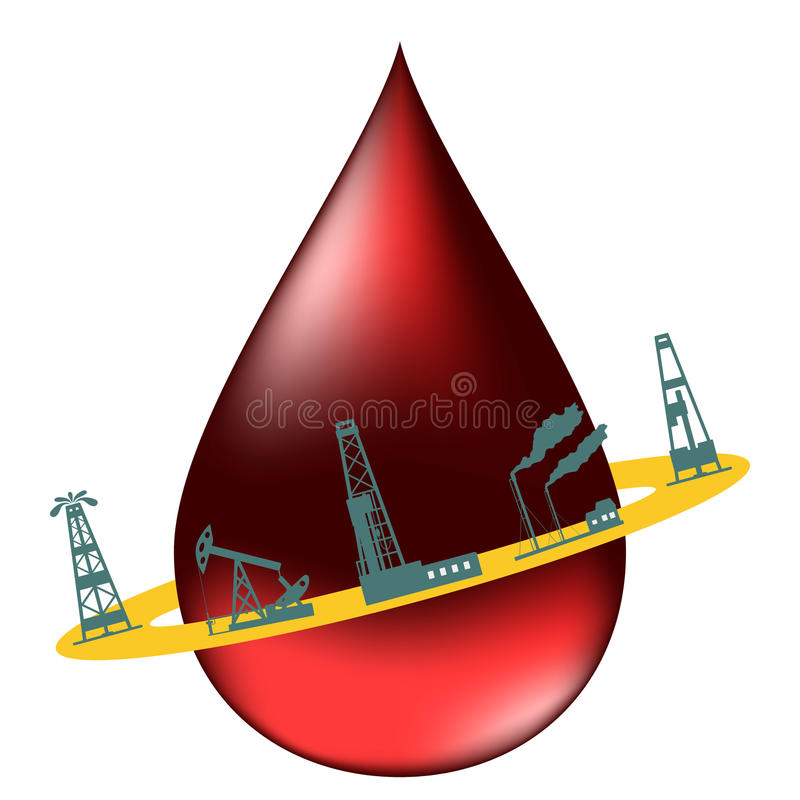 Drop of oil and the silhouettes of oil industry. royalty free illustration