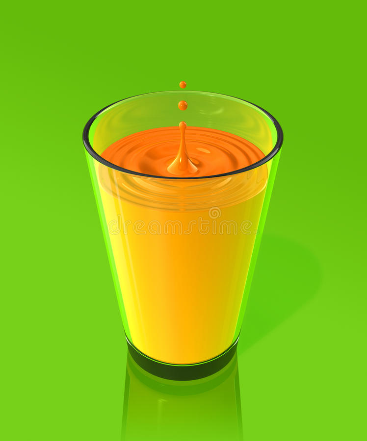 Download Drop Of Orange Juice And Ripple In A Glass Stock Photos - Image: 14383873