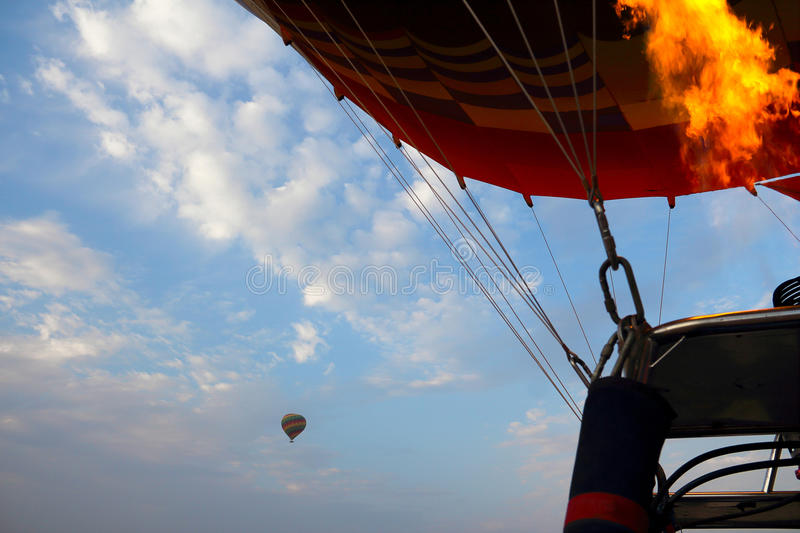 Drop process of balloon in Luxor royalty free stock photography