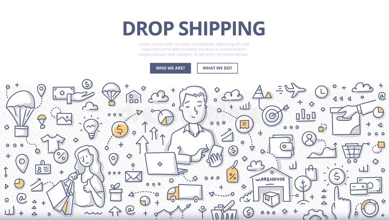 Drop Shipping Doodle Concept. Doodle vector illustration of a retailer transferring customer`s order to manufacture. Concept of how drop shipping works for web royalty free illustration