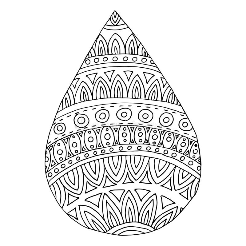 Download Drop Vector Water Zen Tangle And Doodle Raindrop Coloring Book Stock
