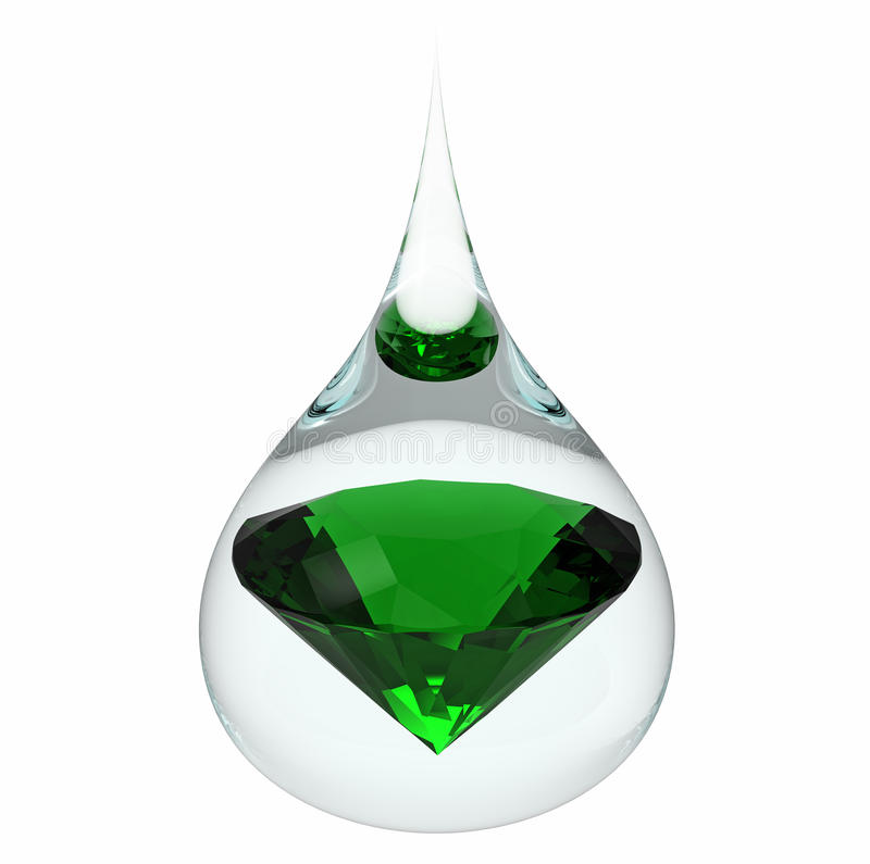 Drop of water with emerald. Model of a emerald jewel in a drop of water, isolated on white, 3d render stock illustration