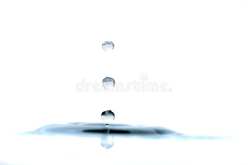 Drop of water isolated over white stock images