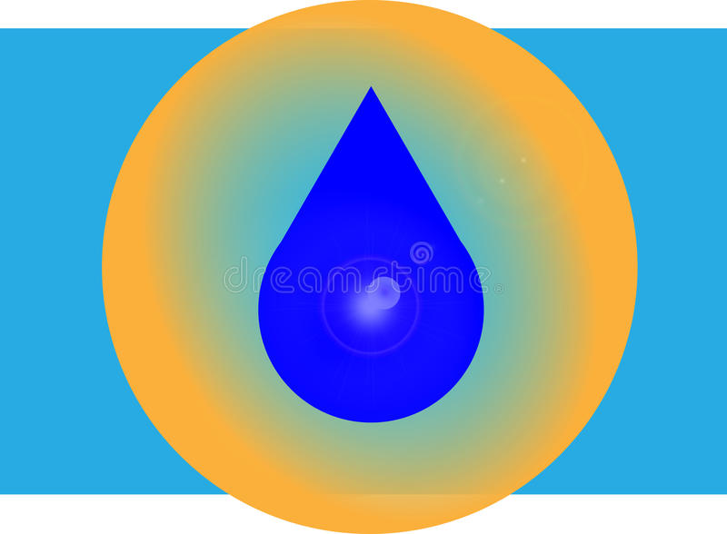 A drop of water in an orange circle. Raster image. Falling drop of water calls us to take care of the water royalty free illustration