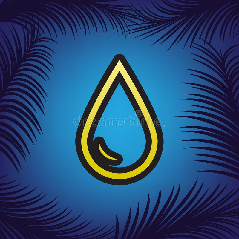 Drop of water sign. Vector. Golden icon with black contour at bl royalty free illustration