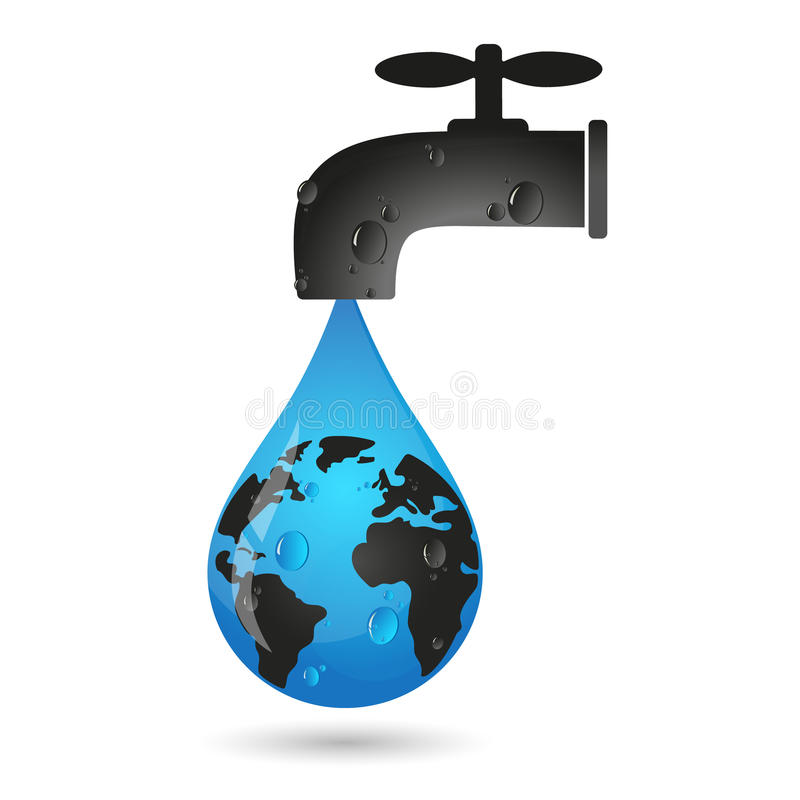 A drop of water from the tap and earth. Eco symbol royalty free illustration