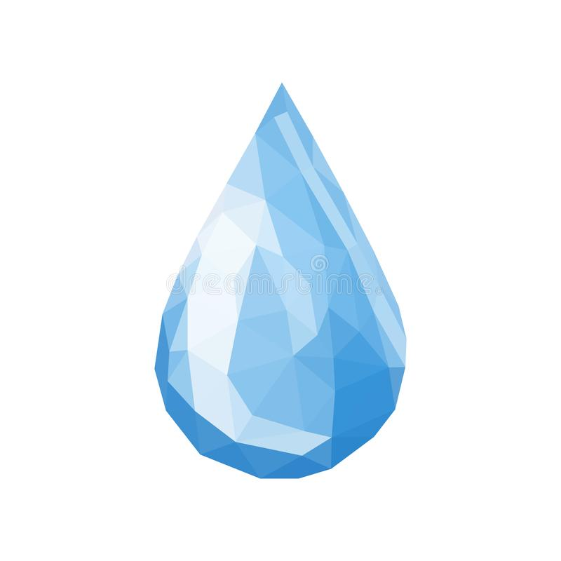 Drop of water triangles polygonal simple vector on white royalty free illustration