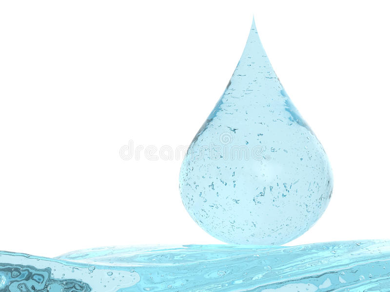 Droplet of blue cosmetic gel isolated on white royalty free illustration
