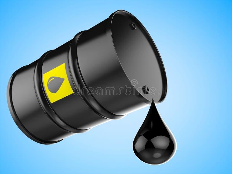 Droplet of crude oil with black barrel. 3d rendering droplet of crude oil with black barrel on blue background vector illustration