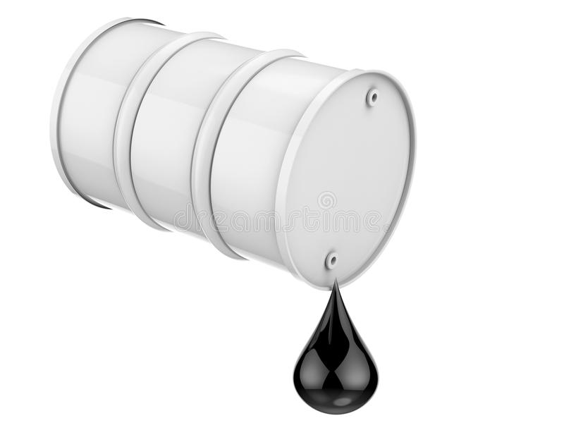 Droplet of crude oil with white barrel isolated on white. 3d rendering droplet of crude oil with white barrel isolated on white vector illustration
