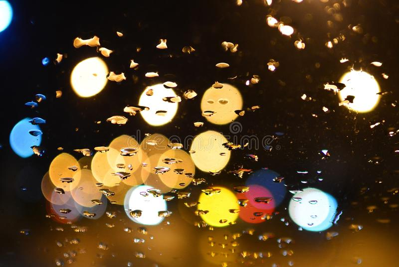 Droplet on glass of car royalty free stock photography