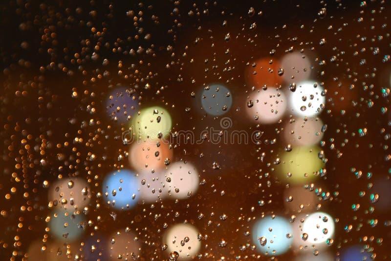 Download Droplets Of Night Rain On Window Stock Image - Image: 28697337