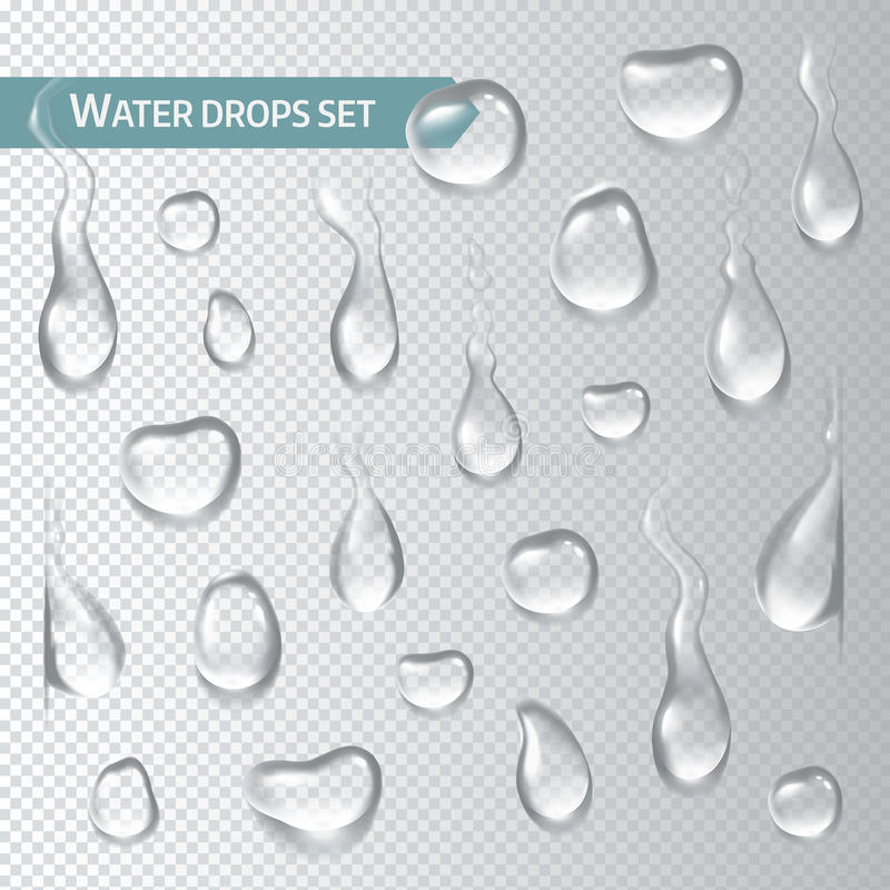 Droplets of water on a transparent background. Vector illustration royalty free illustration