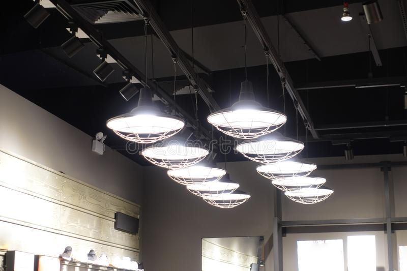 Droplight pendant lamps in shopping mall. Led light used in modern construction, subway station, airport, railway station, bus station ,shopping mall,office royalty free stock photography