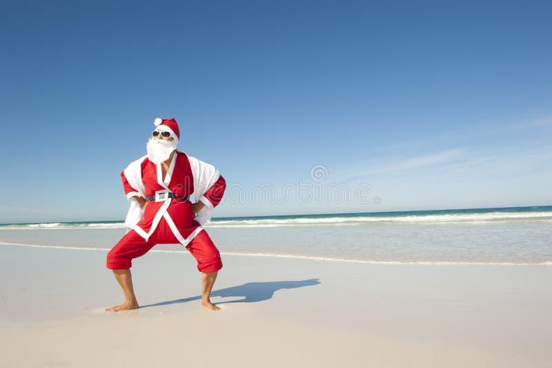 dropp för strand för Santa Claus julferie royaltyfri bild