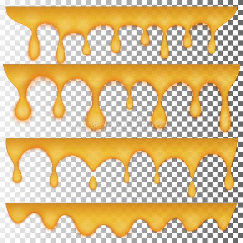 Droppar av guld- honung, en uppsättning av fyra objekt Genomskinlig gul gelé royaltyfri illustrationer