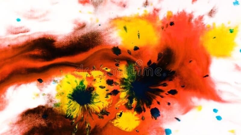 Droppar för färgpulvervattenfärgmålarfärg på ett vått ark, psykedelisk abstrakt sprej på papper royaltyfri bild