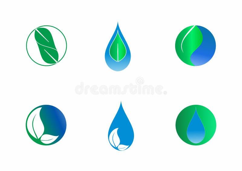 Droppar och sidor, natur tappar och lämnar beståndsdelvektorn att planlägga, uppsättningen för vektorlogomallen royaltyfri illustrationer