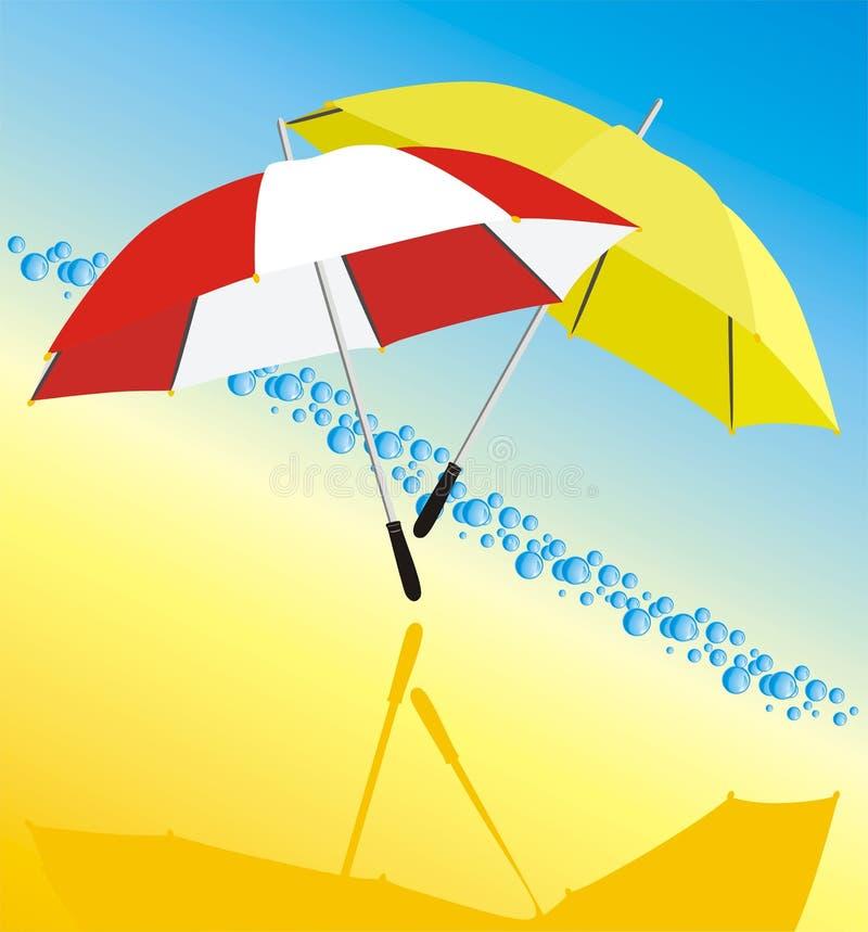 droppar två paraplyer royaltyfri illustrationer